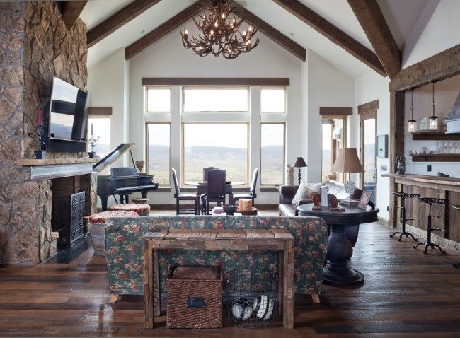 mountain family-room with stone fireplace,